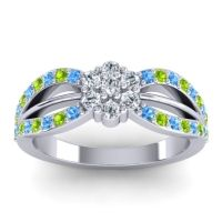 Simple Floral Pave Kalikda Diamond Ring with Peridot and Swiss Blue Topaz in 18k White Gold