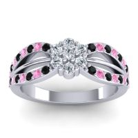 Simple Floral Pave Kalikda Diamond Ring with Pink Tourmaline and Black Onyx in Palladium