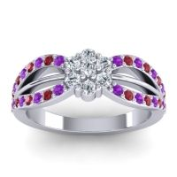 Simple Floral Pave Kalikda Diamond Ring with Ruby and Amethyst in 14k White Gold