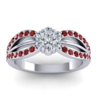 Simple Floral Pave Kalikda Diamond Ring with Ruby and Garnet in 14k White Gold