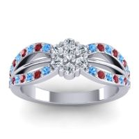 Simple Floral Pave Kalikda Diamond Ring with Ruby and Swiss Blue Topaz in 14k White Gold