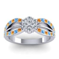 Simple Floral Pave Kalikda Diamond Ring with Swiss Blue Topaz and Citrine in 14k White Gold