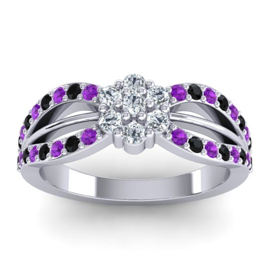 Simple Floral Pave Kalikda Diamond Ring with Black Onyx and Amethyst in Palladium
