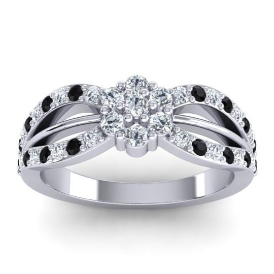 Simple Floral Pave Kalikda Diamond Ring with Black Onyx in 14k White Gold