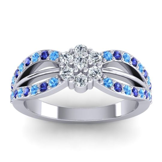 Simple Floral Pave Kalikda Diamond Ring with Blue Sapphire and Swiss Blue Topaz in Palladium