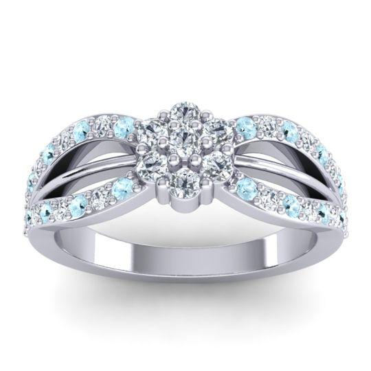 Simple Floral Pave Kalikda Diamond Ring with Aquamarine in 18k White Gold