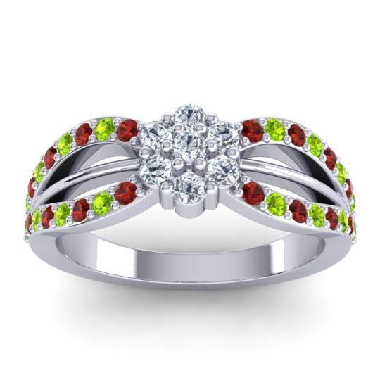 Simple Floral Pave Kalikda Diamond Ring with Peridot and Garnet in Platinum