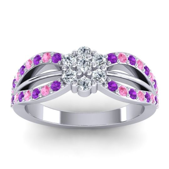 Simple Floral Pave Kalikda Diamond Ring with Pink Tourmaline and Amethyst in 18k White Gold