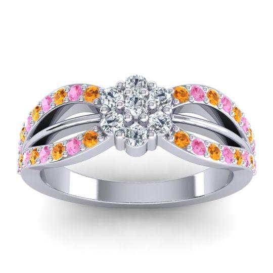 Simple Floral Pave Kalikda Diamond Ring with Pink Tourmaline and Citrine in Palladium