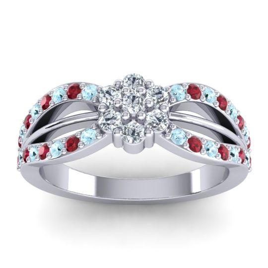 Simple Floral Pave Kalikda Diamond Ring with Ruby and Aquamarine in Palladium