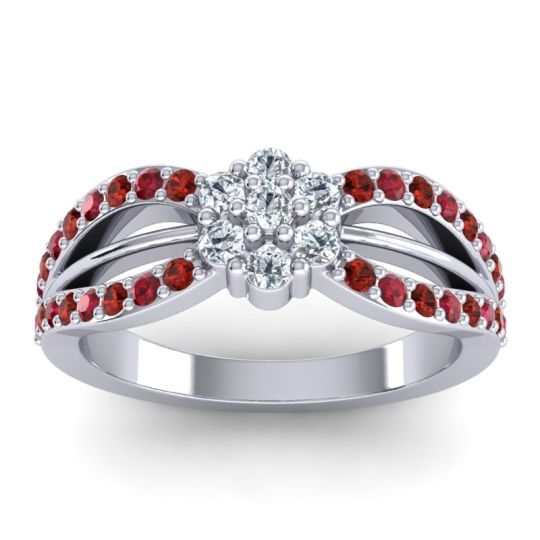 Simple Floral Pave Kalikda Diamond Ring with Ruby and Garnet in Platinum