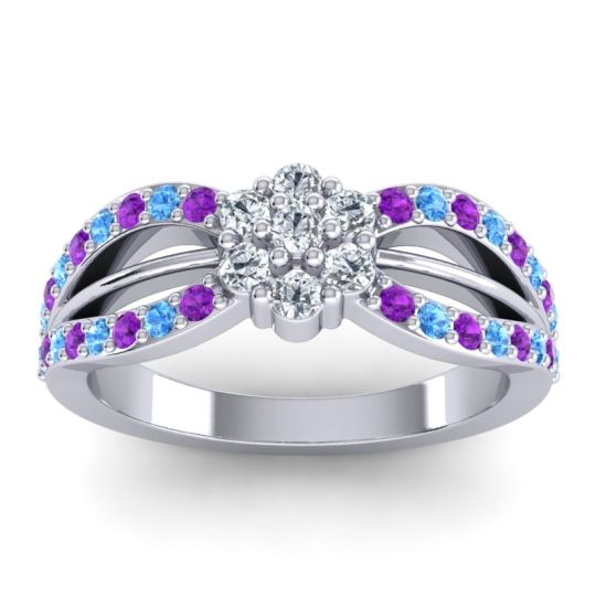 Simple Floral Pave Kalikda Diamond Ring with Swiss Blue Topaz and Amethyst in 14k White Gold