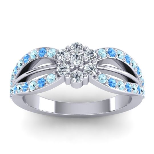 Simple Floral Pave Kalikda Diamond Ring with Swiss Blue Topaz and Aquamarine in 18k White Gold