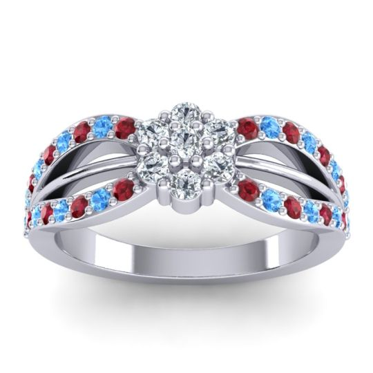 Simple Floral Pave Kalikda Diamond Ring with Swiss Blue Topaz and Ruby in Palladium
