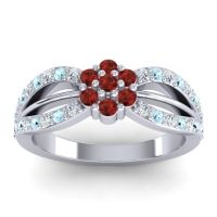 Simple Floral Pave Kalikda Garnet Ring with Aquamarine and Diamond in Platinum