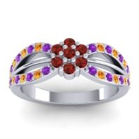 Simple Floral Pave Kalikda Garnet Ring with Citrine and Amethyst in Platinum