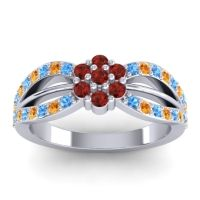 Simple Floral Pave Kalikda Garnet Ring with Citrine and Swiss Blue Topaz in Platinum