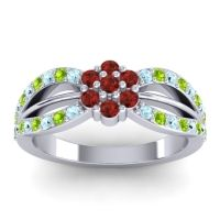 Simple Floral Pave Kalikda Garnet Ring with Peridot and Aquamarine in 14k White Gold