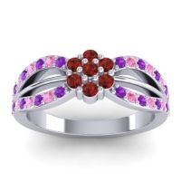 Simple Floral Pave Kalikda Garnet Ring with Pink Tourmaline and Amethyst in 14k White Gold