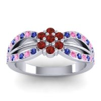Simple Floral Pave Kalikda Garnet Ring with Pink Tourmaline and Blue Sapphire in 14k White Gold