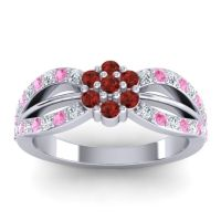 Simple Floral Pave Kalikda Garnet Ring with Pink Tourmaline and Diamond in 14k White Gold