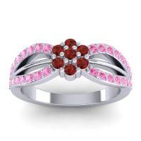 Simple Floral Pave Kalikda Garnet Ring with Pink Tourmaline in Palladium