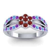 Simple Floral Pave Kalikda Garnet Ring with Swiss Blue Topaz and Amethyst in Platinum