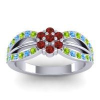 Simple Floral Pave Kalikda Garnet Ring with Swiss Blue Topaz and Peridot in 18k White Gold