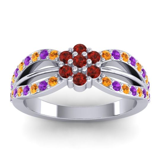 Simple Floral Pave Kalikda Garnet Ring with Amethyst and Citrine in 14k White Gold