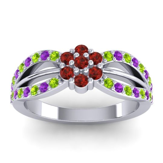 Simple Floral Pave Kalikda Garnet Ring with Amethyst and Peridot in 18k White Gold