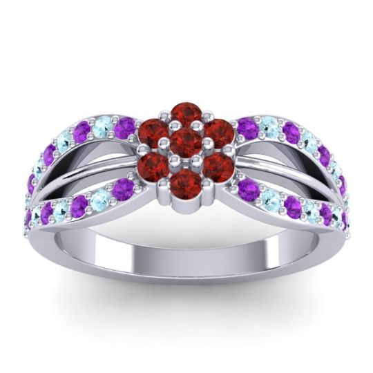 Simple Floral Pave Kalikda Garnet Ring with Aquamarine and Amethyst in 18k White Gold