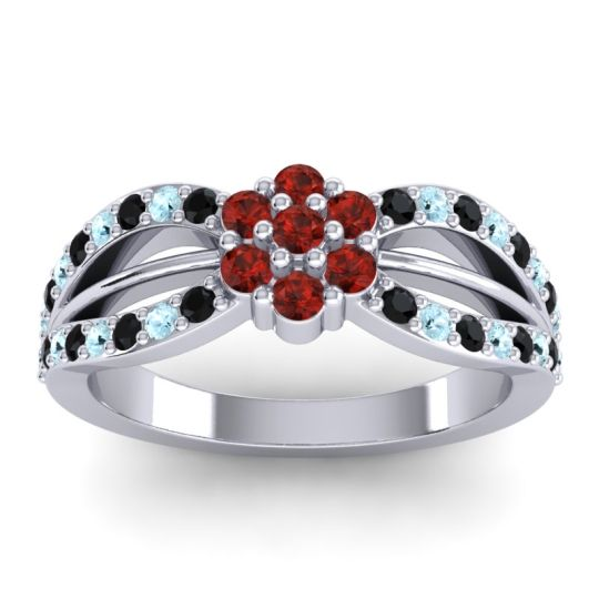 Simple Floral Pave Kalikda Garnet Ring with Aquamarine and Black Onyx in 18k White Gold