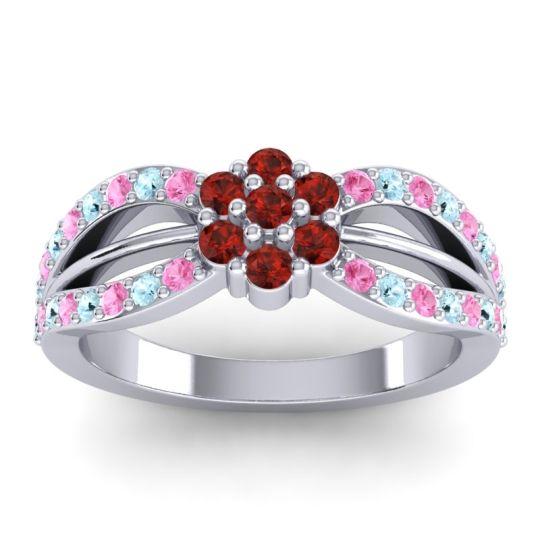 Simple Floral Pave Kalikda Garnet Ring with Aquamarine and Pink Tourmaline in Palladium