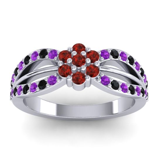 Simple Floral Pave Kalikda Garnet Ring with Black Onyx and Amethyst in 18k White Gold