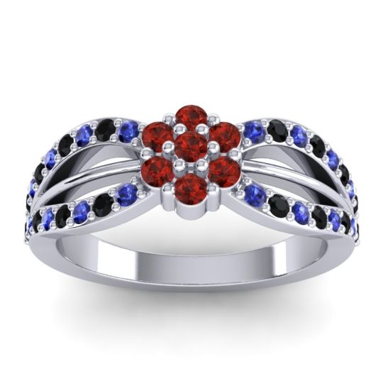 Simple Floral Pave Kalikda Garnet Ring with Black Onyx and Blue Sapphire in 18k White Gold