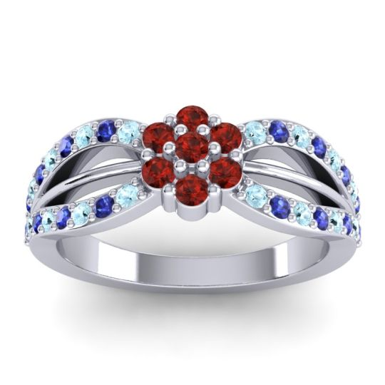 Simple Floral Pave Kalikda Garnet Ring with Blue Sapphire and Aquamarine in Platinum