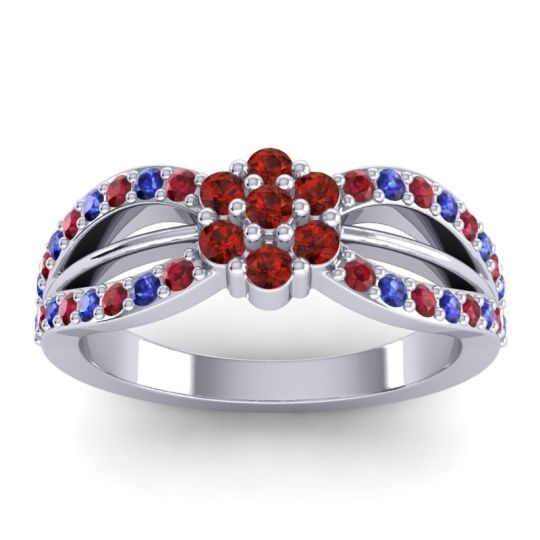 Simple Floral Pave Kalikda Garnet Ring with Blue Sapphire and Ruby in Palladium