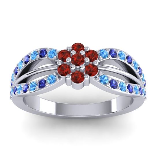 Simple Floral Pave Kalikda Garnet Ring with Blue Sapphire and Swiss Blue Topaz in Palladium