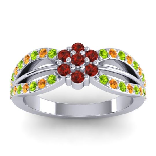 Simple Floral Pave Kalikda Garnet Ring with Citrine and Peridot in Platinum