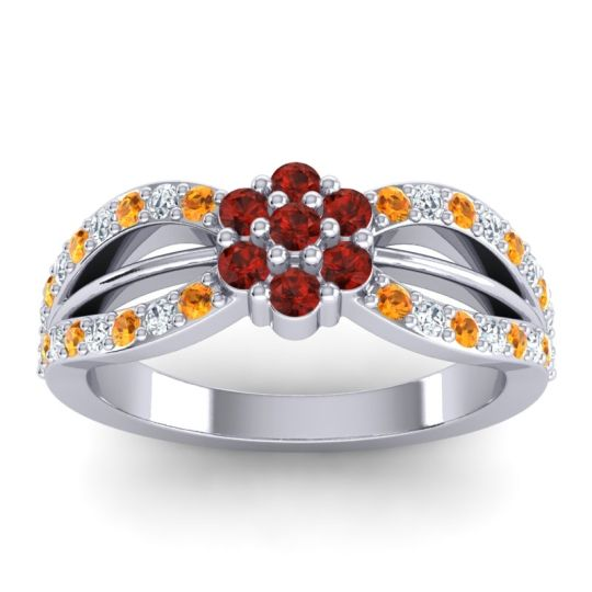 Simple Floral Pave Kalikda Garnet Ring with Diamond and Citrine in Platinum