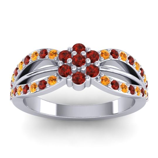 Simple Floral Pave Kalikda Garnet Ring with Citrine in 14k White Gold
