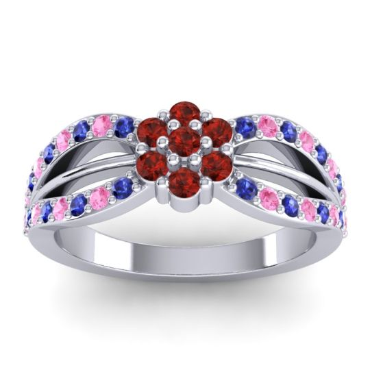 Simple Floral Pave Kalikda Garnet Ring with Pink Tourmaline and Blue Sapphire in Palladium