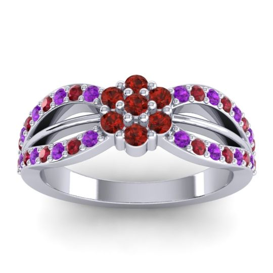 Simple Floral Pave Kalikda Garnet Ring with Ruby and Amethyst in Palladium