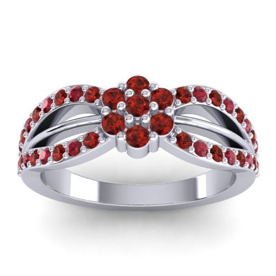 Simple Floral Pave Kalikda Garnet Ring with Ruby in 14k White Gold