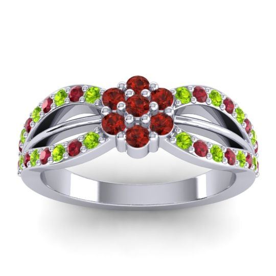 Simple Floral Pave Kalikda Garnet Ring with Ruby and Peridot in Platinum