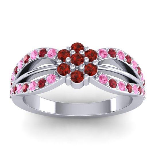 Simple Floral Pave Kalikda Garnet Ring with Ruby and Pink Tourmaline in Palladium