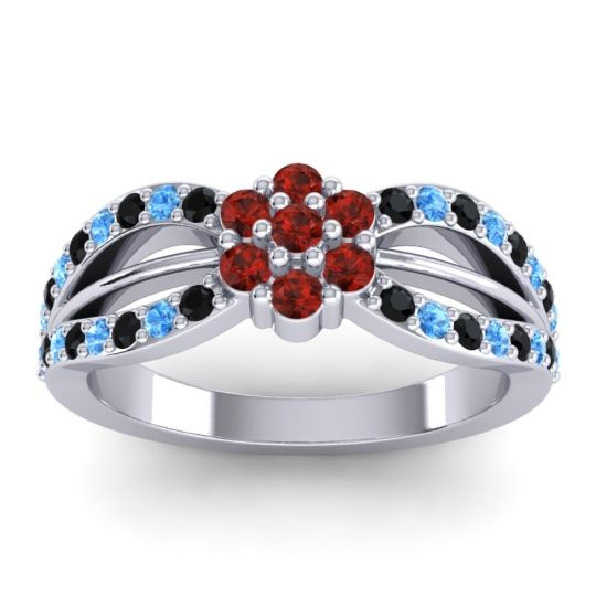 Simple Floral Pave Kalikda Garnet Ring with Swiss Blue Topaz and Black Onyx in 14k White Gold