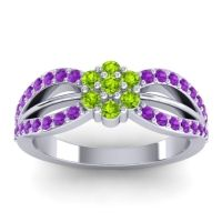 Simple Floral Pave Kalikda Peridot Ring with Amethyst in Palladium