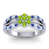 Simple Floral Pave Kalikda Peridot Ring with Aquamarine and Blue Sapphire in 14k White Gold