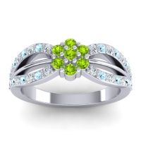 Simple Floral Pave Kalikda Peridot Ring with Aquamarine and Diamond in 14k White Gold